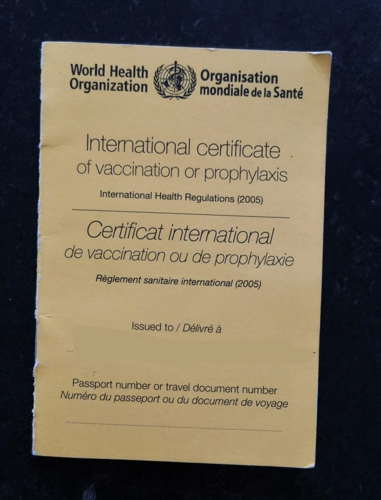 carnet international de vaccination